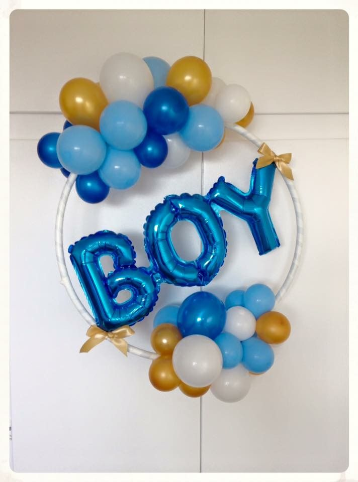 """It's a boy"" balloon hoop. Created by BalloonBlooms.co.uk"
