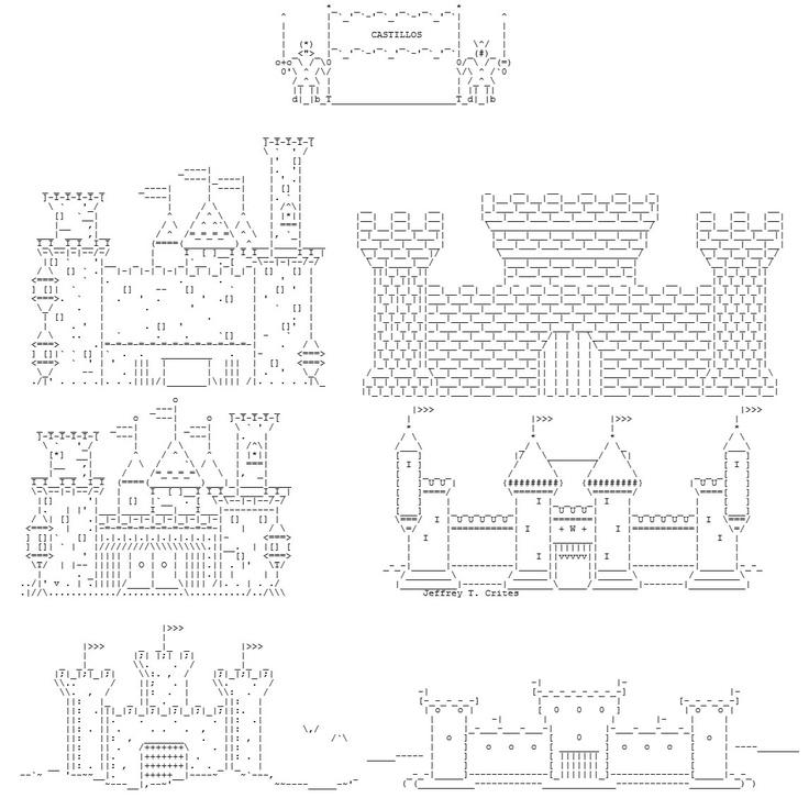 Cuatro dibujos de castillos tienen la firma de Jeffrey T. Crites