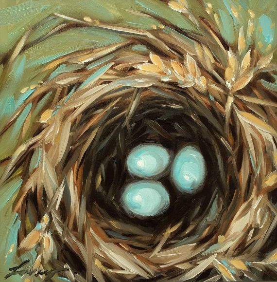 Birds nest painting Original oil painting of a birds by LaveryART