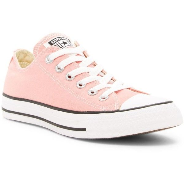 Converse Chuck Taylor Ox Low Top Sneaker (Unisex) found on Polyvore featuring shoes, sneakers, daybreak pink, low profile sneakers, unisex shoes, canvas sneakers, lacing sneakers and pink shoes