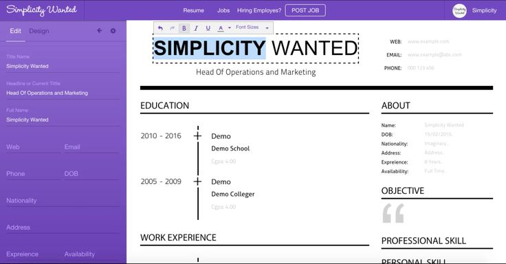 An unparalleled online resume builder is free forever to make stunning resume. Simple to edit, save and download or send to employer within a moment.