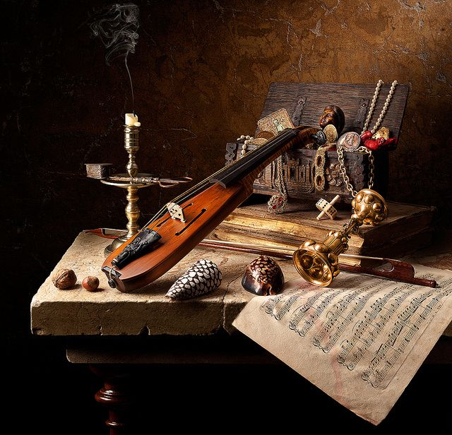 Still life with Jewel Box--a contemporary photo by Kevin Best in the manner of the 17th C. Dutch still life masters