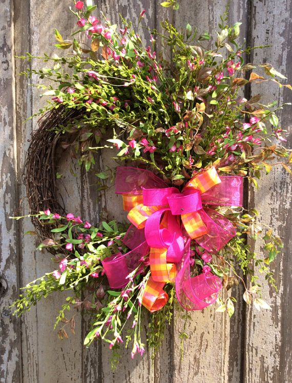 Summer Door Wreath, Pink Wreath, Wreath for double doors, Wild flower wreath, mothers day wreath, Easter Wreath,Summer Wreath, Back door Wreath, Spring Wreath, Front Door Wreath Dimensions 28x22 and 8 Deep Created on a 18 inch grapevine base Paper wrapped metal hanger is attached to