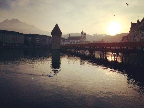 Beautiful sunset in Lucerne #sunset #travel #lucerne