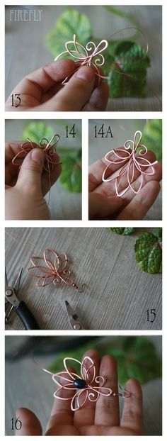 Free tutorial - pretty flower wire shape for earrings or pendant