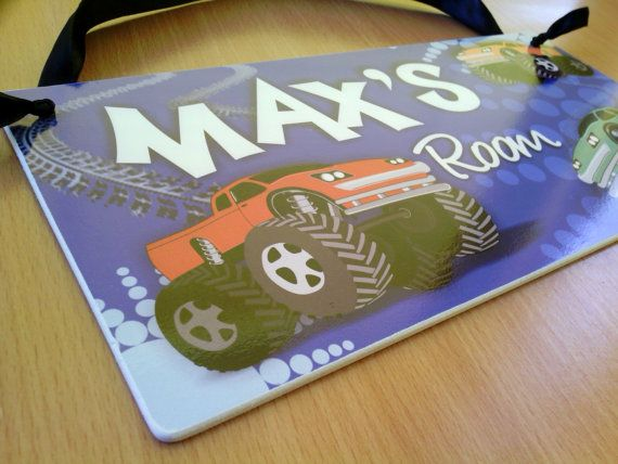 monster truck sign sign for boys room cave - blue red and orange trucks personalized door sign name hanging plaque feom $16.99