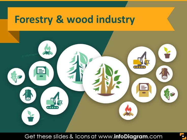 Agriculture icons - Forestry, Wood Industry (PPT flat clipart)