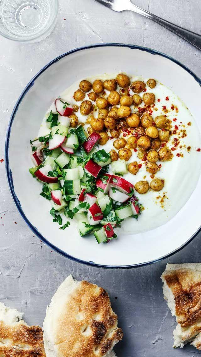 Yogurt Bowl with Spicy Chickpeas & Cucumber Radish Salad