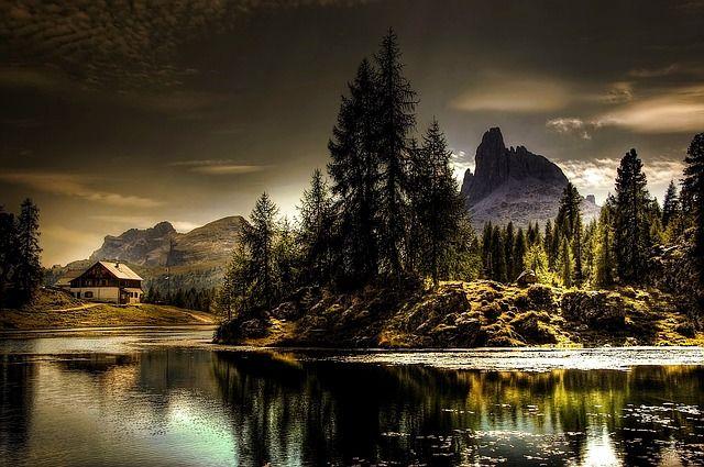 Dolomitok Croda Da Lago Nyári Ég Olaszország Alm by kordi_vahle