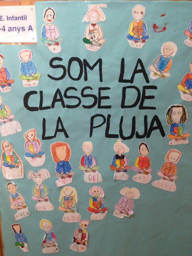 Mural fet pels nens i nenes de la classe de la pluja de l'escola Vedruna Immaculada
