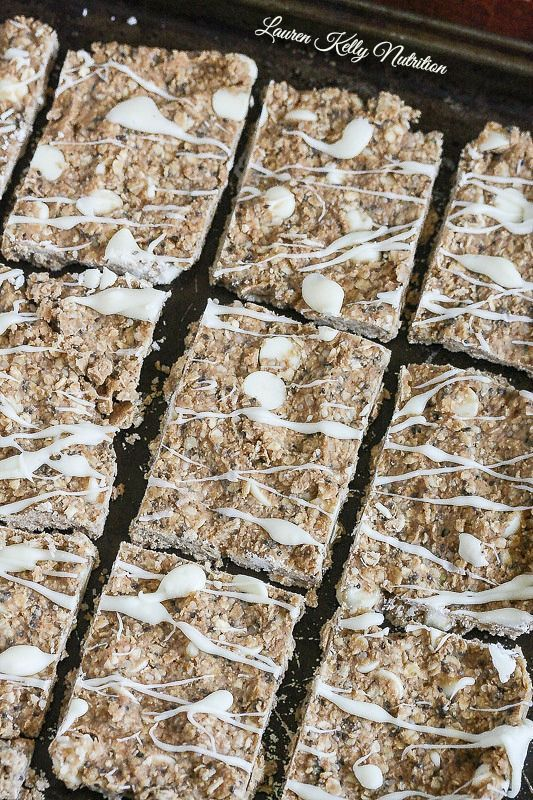 These No Bake White Chocolate Protein Bars are simple to make and packed with 10 grams of protein per bar! I keep these in my refrigerator at all times! #vegan #dairyfree #glutenfree