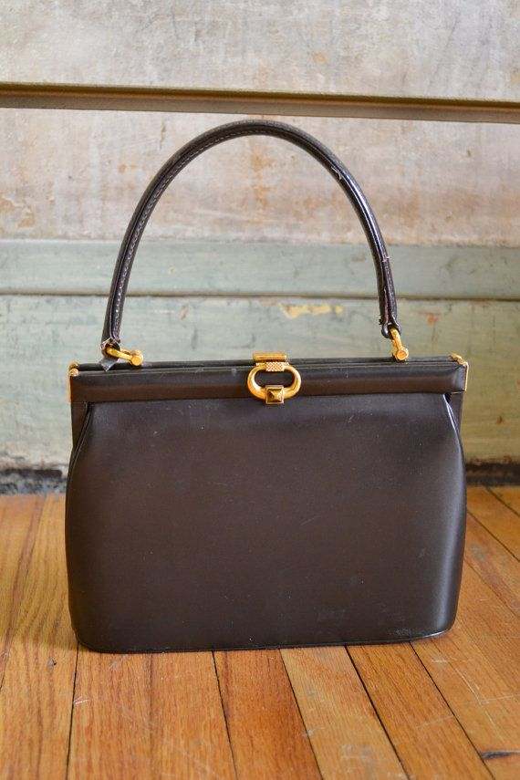 Vintage Gucci 1950s Brown Leather Designer By