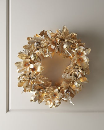 "$250.00  28""d x 10"" depth  ""Champagne Frost"" Pre-Lit Christmas Wreath at Horchow."