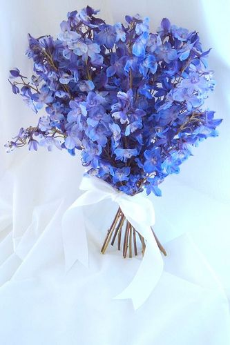 delphiniums-wedding-bouquet -- can turn into a centerpiece if you add a vase with fairy lights