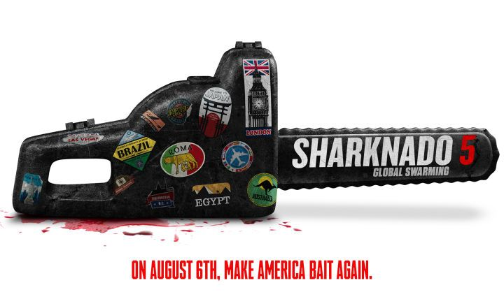 "Sharknado 5 Title and Cameos Officially Announced  Syfy's fifth Sharknado film is officially called Sharknado 5: Global Swarming.  Check out thetitle teaser graphic below complete with the film's official tagline: ""Make America Bait Again.""   Sharknado 5: Global Swarming teaser art  Alongside the announcement of the movie's official title the network revealed Sharknado 5's list of cameos which include Tony HawkOlivia Newton-JohnChloe LattanziFabioClay AikenBret MichaelsCharoGilbert…"