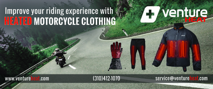 Extend your riding season through the Fall season and even through Winter with Venture Heat® Motorcycle Power Sports Heated Apparel and Heated Gear. #HeatedClothing #SelfHeatedClothing #MotorcycleHeatedJacket #HeatJacket #BatteryPoweredJacket #VentureHeat #MotorcycleHeatedClothing