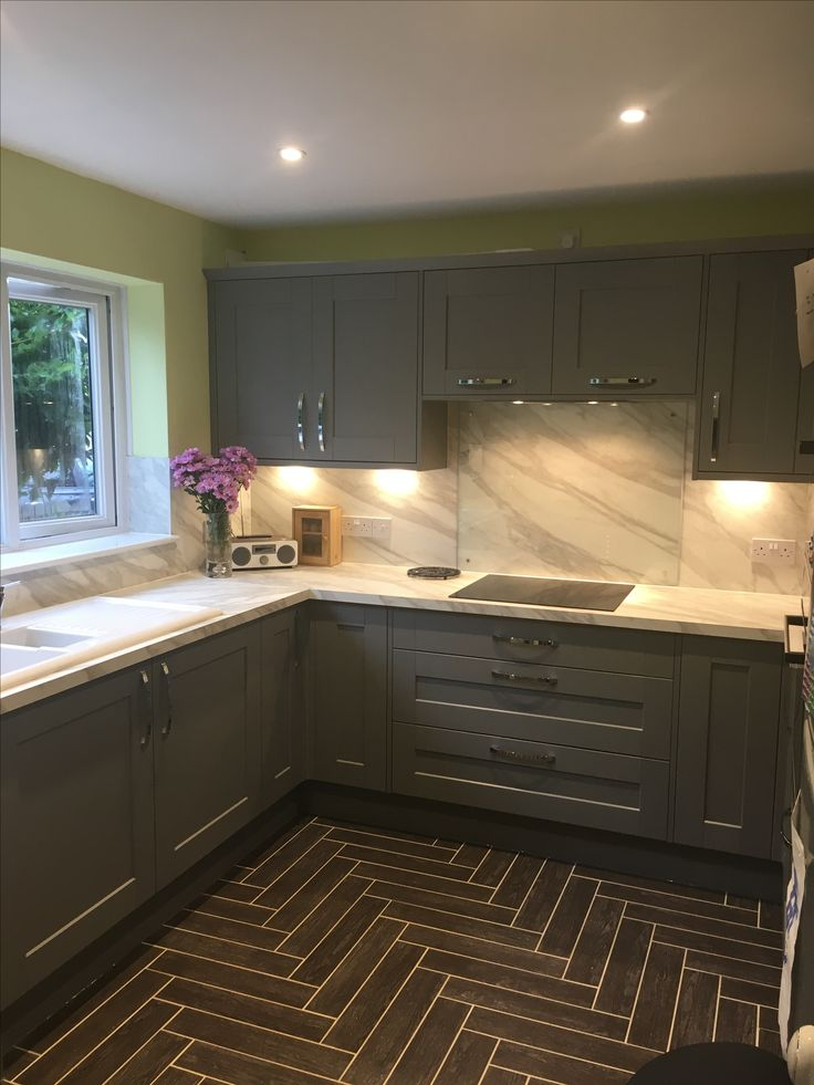 Howdens kitchen Fairford grey with white marble effect worktops