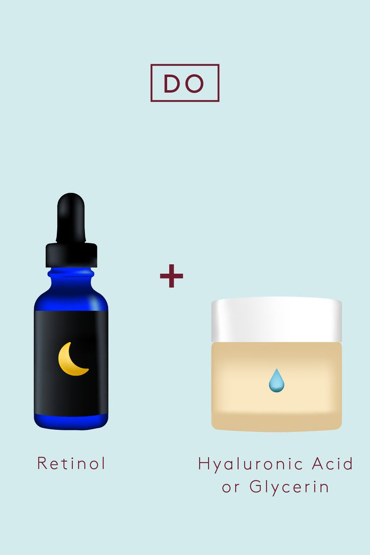 Do: Retinol   Hyaluronic Acid Or GlycerinRetinol is a powerhouse ingredient for smoothing fine lines, but it can also irritate and dry out the skin, says Chin. Follow any retinol products with a moisturizer that contains super-hydrating glycerin or hyaluronic acid to counter harsh drying effects. #refinery29 http://www.refinery29.com/how-to-mix-ingredients-vitamins-skin-care-regimen#slide-1