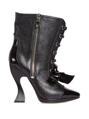 Curved-heel leather lace-up boots   Loewe   MATCHESFASHION.COM UK