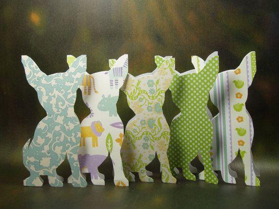 Azul verde Chihuahua tarjetas mano hecha tarjetas mano