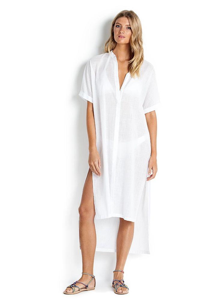Textured Voile Shirt Dress