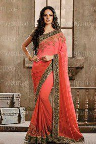 Nakkashi Georgette Designer Saree In Baby Pink Colour