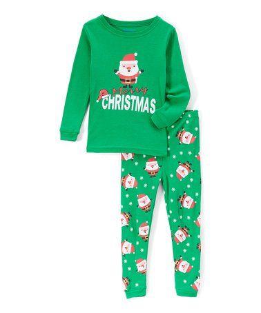 c80419b8e Look what I found on  zulily! Green Santa  Merry Christmas  Pajama ...