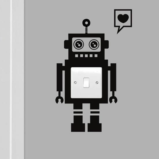 Noir commutateur autocollants stickers muraux amour de robot cool -1394 Fond d'écran  1.99€