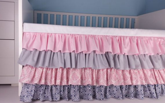 Crib Skirt Ruffle Four Tier pink gray navy Baby от Hayleyshouse