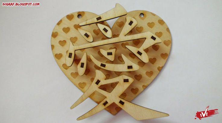 3D - kanji miłość love laser cut