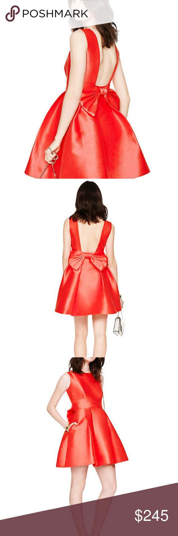 """Kate Spade - open back silk mini dress - NWT Brand new dress with tags - never worn. Still available on Kate Spade site.  FEATURES 89% polyester 11% silk / lining: 100% polyester bow back pleating all around side seam pockets full circle skirt with pleats full circle skirt with pleats size 4 measures 35"""" from highest shoulder point style # oumu0506 kate spade Dresses Mini"""