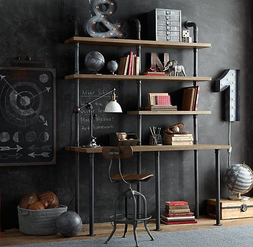 Industrial Pipe Single Desk & Shelving.... Totally loving the industrial shelving right now.