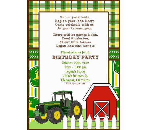 Large JOHN DEERE invitation templates   John Deere ...