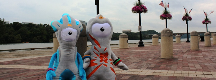 London 2012 mascots Wenlock & Mandeville visited the Georgetown Waterfront in Washington, DC!