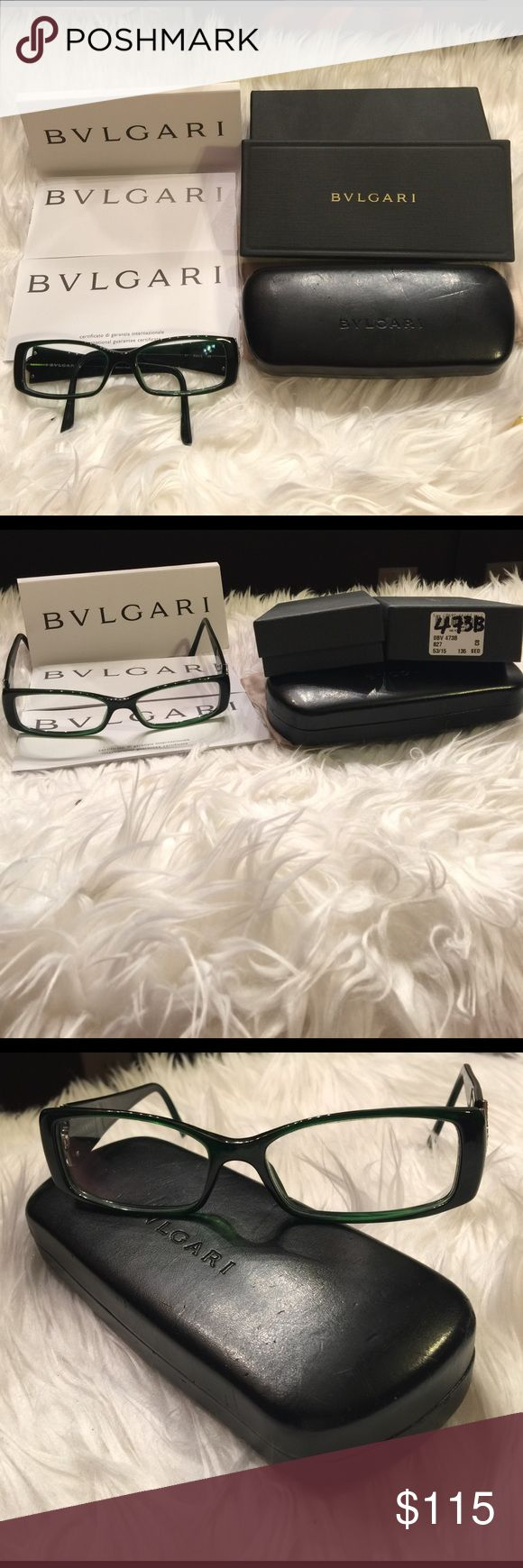GENTLY USED BVLGARI GLASSES GENTLY USED BVLGARI GLASSES, COME W CASE, BOX,  DUST POCKET, AND INTERNATIONAL GUARANTEE CERTIFICATE BOOKLET.  BOUGHT THIS IN LAS VEGAS.  YOU CAN TURN THIS INTO PRESCRIPTION GLASSES IF YOU TAKE THEM TO HAVE IT DONE.  STILL IN EXCELLENT CONDITION.  MISSING 3 STONES ON THE LEFT SIDE, OTHER THAN THAT IN GREAT CONDITION.  GOT LOTS OF COMPLIMENTS ON THIS GLASSES EVERYTIME I WORE IT. BVLGARI Accessories Glasses