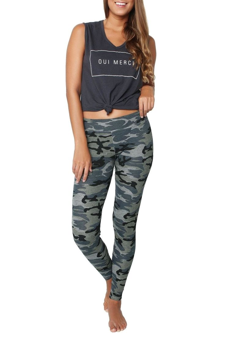 The ultimate comfy cozy slim-fit legging in the coolest camo print and made from the softest stretch cotton.   Grey Camo Yoga Pant by Sundry. Clothing - Activewear - Pants Florida
