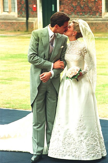 Marie-Chantal and Crown Prince Pavlos of Greece, who wed on July 1, 1995.: Royals Bride, Princesses Marie Chants, Princesses Mariech, Princesses Mary Chants, Chantilly Lace, Wedding, Prince Pavlo, Miller Crowns Princesses, The Bride