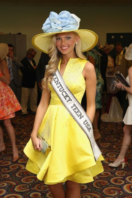 Miss Kentucky Teen USA, Caroline Ford attends the 141st Kentucky Derby at Churchill Downs on May 2, 2015 in Louisville, Kentucky. She is just so GORGEOUS!!!