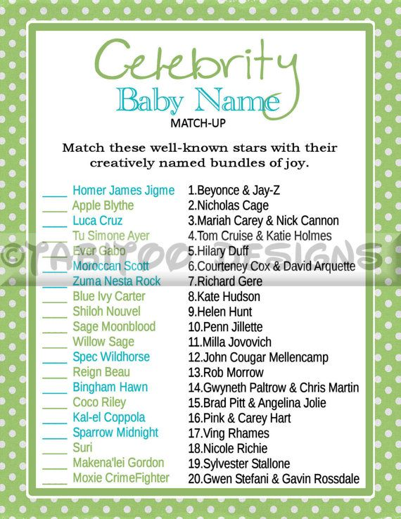 Celebrity Baby Name Match Up Game  Baby Shower  by TabitooDesigns, $5.00