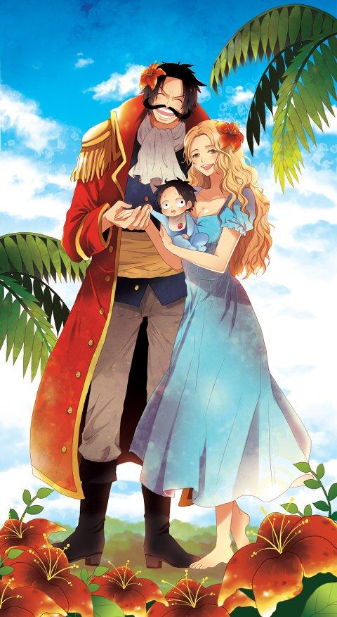Happy family…>0< Roger, Rouge and Ace One Piece