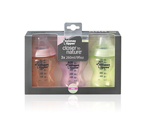 Closer To Nature Colour My World - Pack de 3 biberones decorados para niña, 260 ml