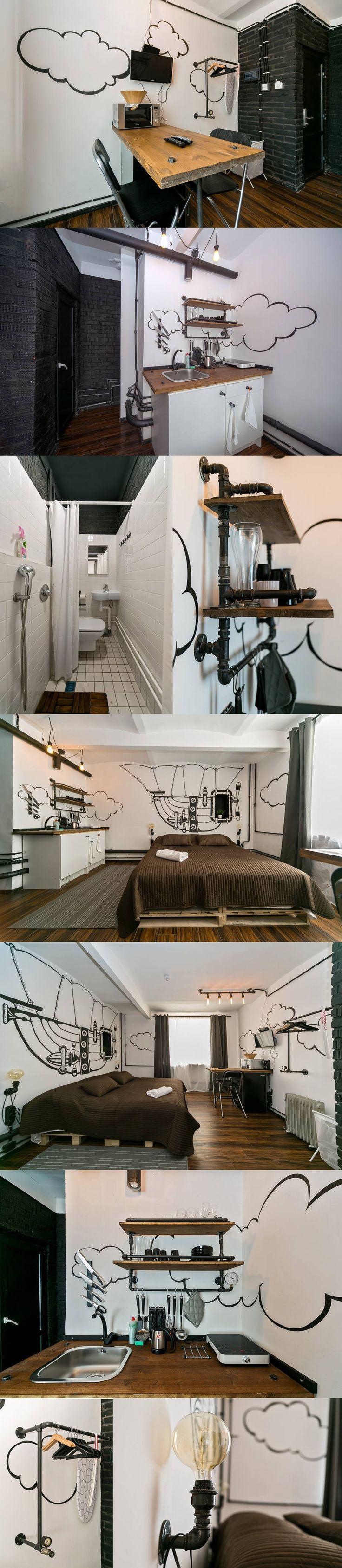 Очень симпатичная комната-студия, сдающаяся в аренду. Рикунки на стенах и водопроводные трубы делают ее незабываемой!