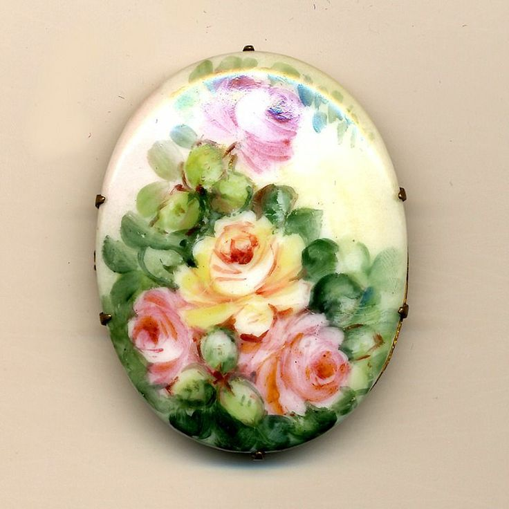 Antique Victorian Hand Painted Porcelain Pin