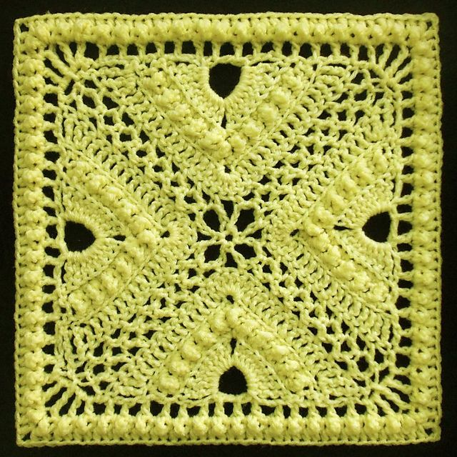 "Free pattern for ""Bee Hives and Clover Afghan Block"" by Joyce Lewis!"