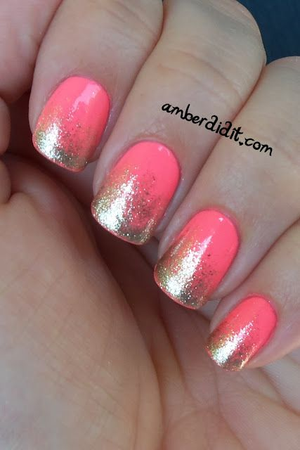 : Coral And Gold, Nails Art, Gold Glitter, Gold Nails, Nails Design, Pink Nails, Glitter Gradient Nails, Glitter Nails, Neon Pink