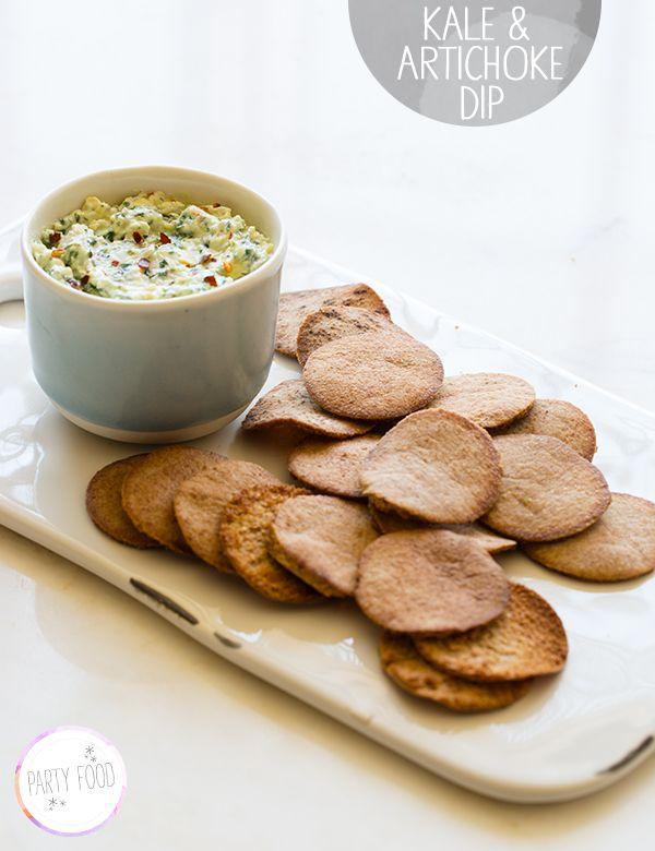 Kale & Artichoke Dip. A healthier alternative to creamy spinach and artichoke dips.
