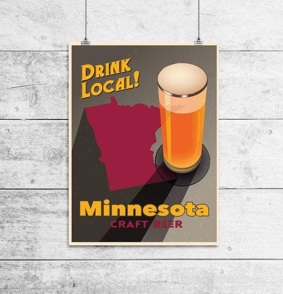 Minnesota Beer Print Map – MN Drink Local Craft Beer Sign – Boyfriend Gift, Husband Gift, Beer Gift,