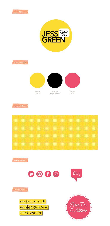 Jess Green, Digital Diva, Branding, Logo, Colour Palette, Surface Pattern, Social Buttons, Brand Icons. By Leaff Design, Worcester UK.