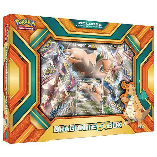 Each Pokemon Dragonite Box includes a Dragonite EX foil promo card, 4 x 10-card Pokemon TCG booster packs, a special oversize foil promo card featuring the Dragonite EX to add to your collection, and a bonus online code card for unlocking the characters EX promo card in the Pokemon Trading Card Game Online!<br><br>The Pokemon Dragonite EX Box Features:<br><ul><li>A foil promo card featuring Dragonite EX</li><br><li>4 x 10-card Pokemon TCG b...