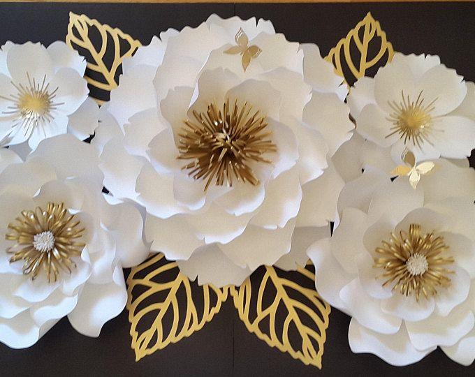 Telón de fondo de flores grandes de papel, decoración de la flor de papel, papel grande flor pared, princesa temática flores de papel.